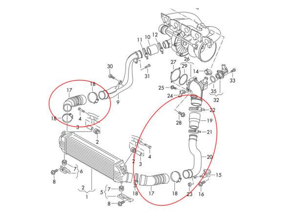 AUDI 8V RS3 Intercooler to Throttle Body Pipe Kit