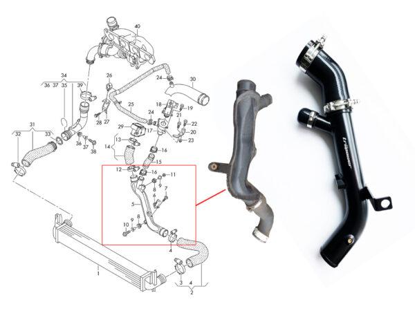 VW 2.0T MK5 FSI MK6 GOLF R Audi A3 EA113 Truflow™ Throttle Pipe