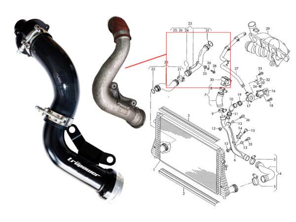 VW Golf MK5 GTI AUDI 2.0T FSI K03 Turbo Outlet Pipe and Turbo Muffler Delete